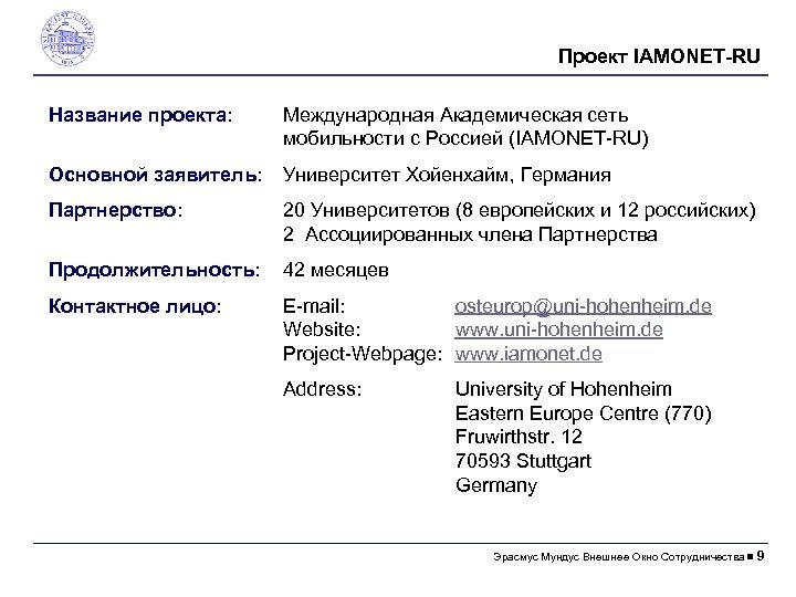 Проект IAMONET-RU Название проекта: Международная Академическая сеть мобильности с Россией (IAMONET-RU) Основной заявитель: Университет