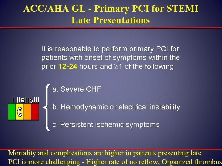 ACC/AHA GL - Primary PCI for STEMI Late Presentations It is reasonable to perform