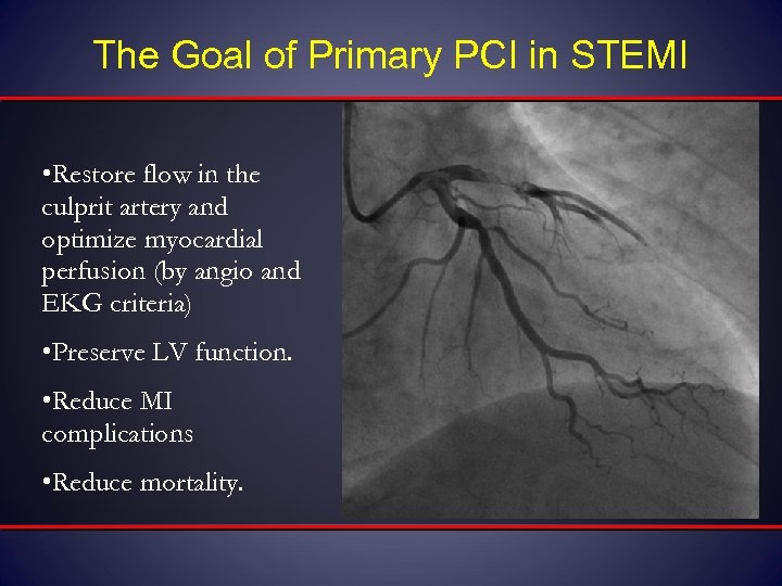The Goal of Primary PCI in STEMI • Restore flow in the culprit artery