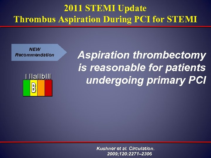 2011 STEMI Update Thrombus Aspiration During PCI for STEMI NEW Recommendation I IIa IIb