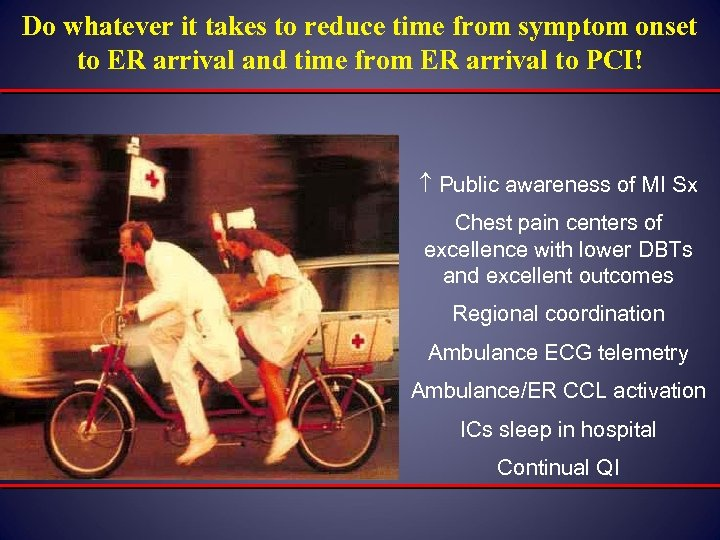 Do whatever it takes to reduce time from symptom onset to ER arrival and