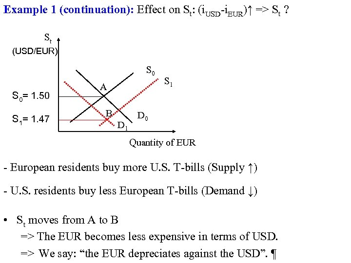 Example 1 (continuation): Effect on St: (i. USD-i. EUR)↑ => St ? St (USD/EUR)