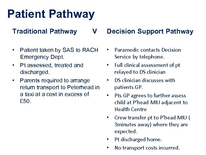 Patient Pathway Traditional Pathway V • Patient taken by SAS to RACH Emergency Dept.
