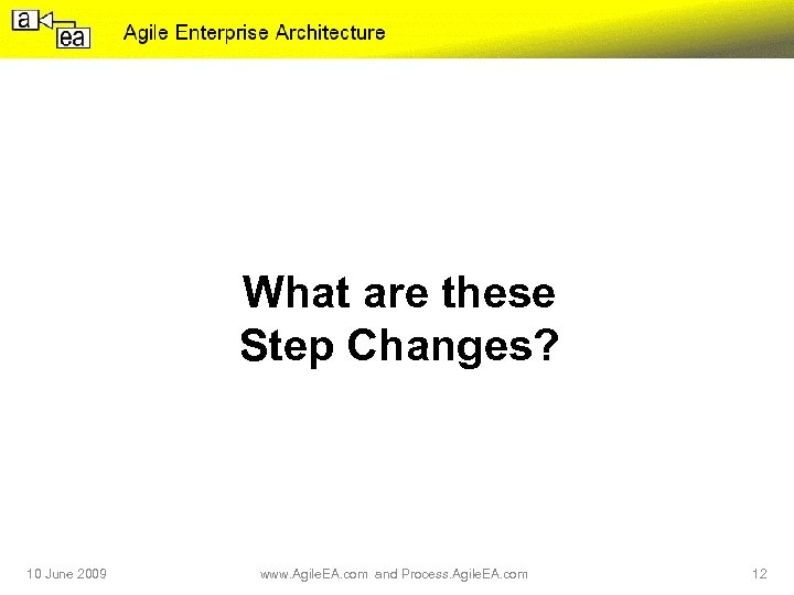 What are these Step Changes? 10 June 2009 www. Agile. EA. com and Process.