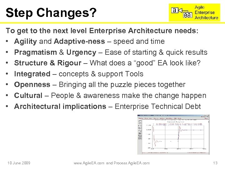 Step Changes? To get to the next level Enterprise Architecture needs: • Agility and