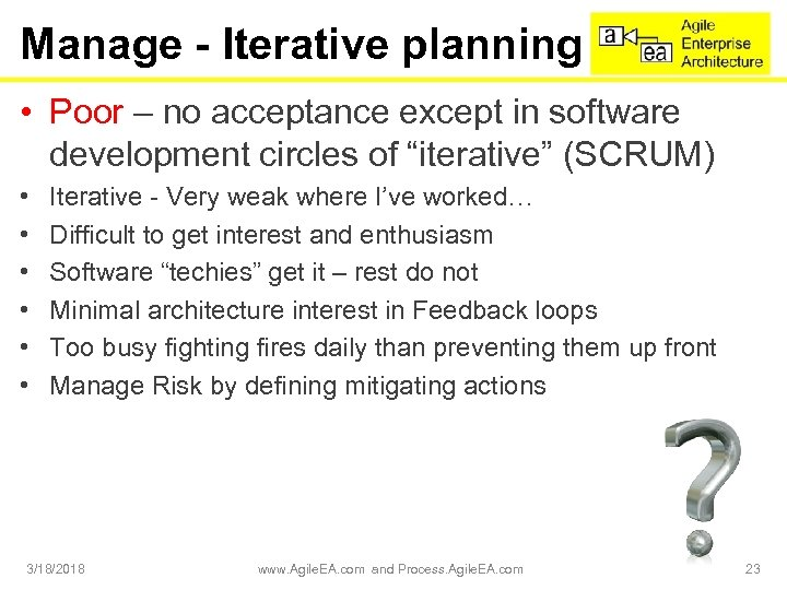 Manage - Iterative planning • Poor – no acceptance except in software development circles