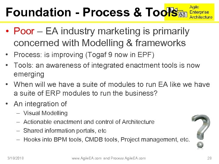 Foundation - Process & Tools • Poor – EA industry marketing is primarily concerned