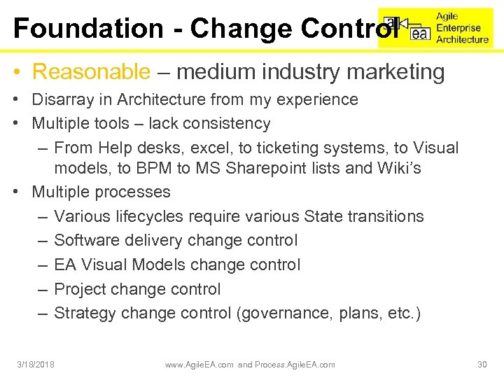Foundation - Change Control • Reasonable – medium industry marketing • Disarray in Architecture