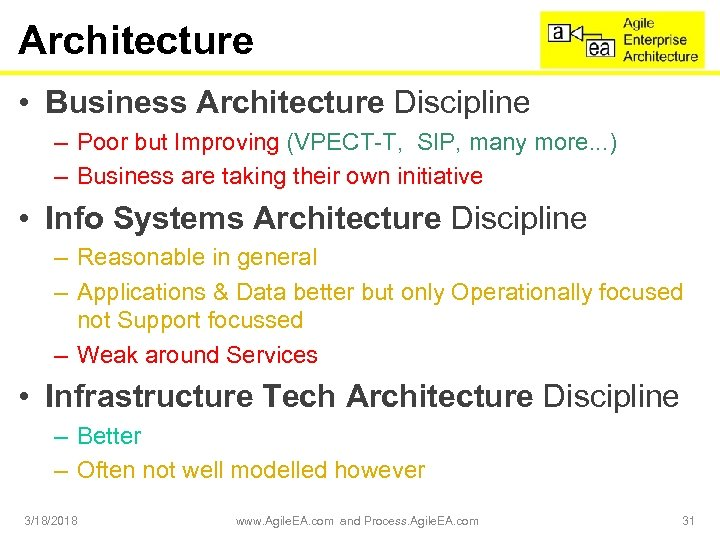 Architecture • Business Architecture Discipline – Poor but Improving (VPECT-T, SIP, many more. .