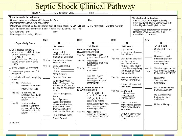 Septic Shock Clinical Pathway