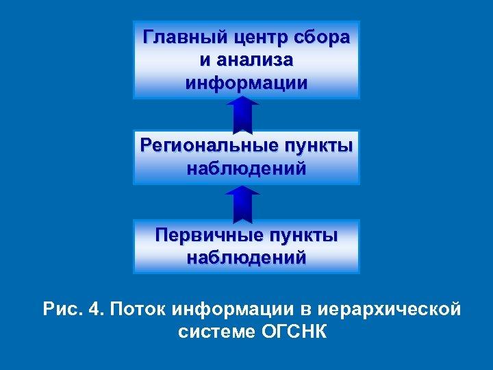 Главный центр сбора и анализа информации Региональные пункты наблюдений Первичные пункты наблюдений Рис. 4.