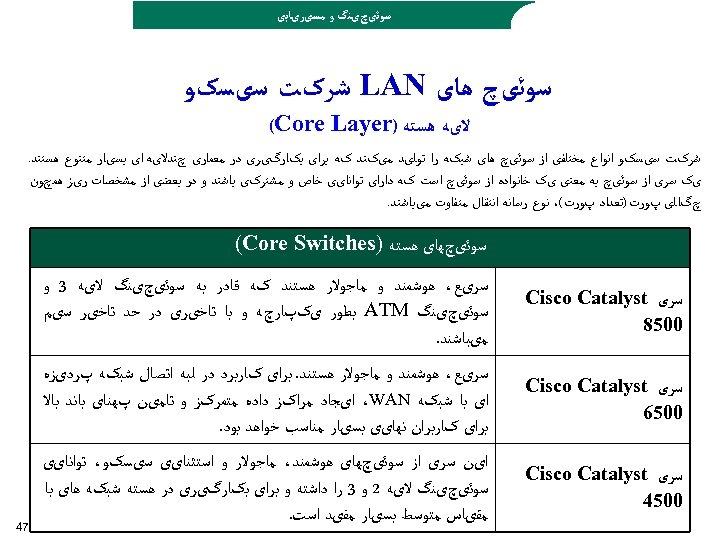 ﺳﻮﺋیچیﻨگ ﻭ ﻣﺴیﺮیﺎﺑی ﺳﻮﺋیچ ﻫﺎی LAN ﺷﺮکﺖ ﺳیﺴکﻮ ﻻیﻪ ﻫﺴﺘﻪ ) (Core Layer