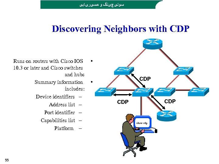 ﺳﻮﺋیچیﻨگ ﻭ ﻣﺴیﺮیﺎﺑی Discovering Neighbors with CDP Runs on routers with Cisco IOS