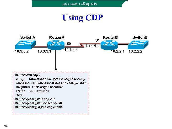 ﺳﻮﺋیچیﻨگ ﻭ ﻣﺴیﺮیﺎﺑی Using CDP Switch. A Router. A S 0 10. 3.
