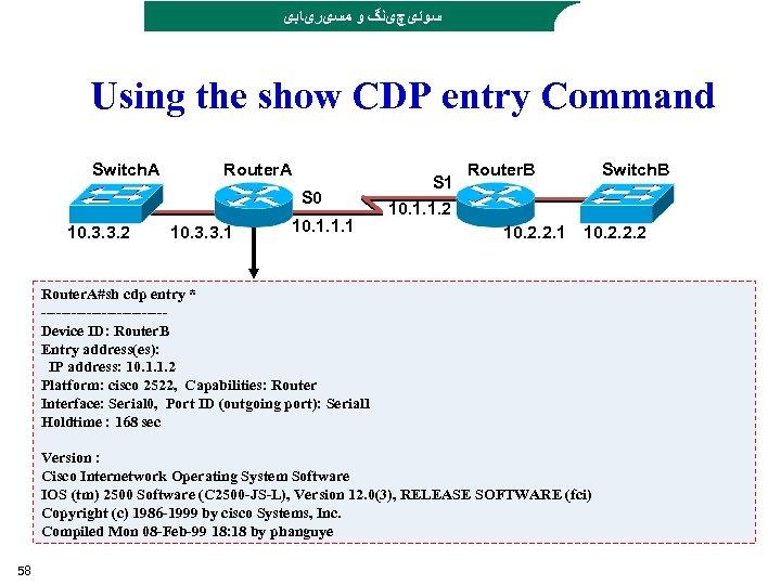 ﺳﻮﺋیچیﻨگ ﻭ ﻣﺴیﺮیﺎﺑی Using the show CDP entry Command Switch. A Router. A