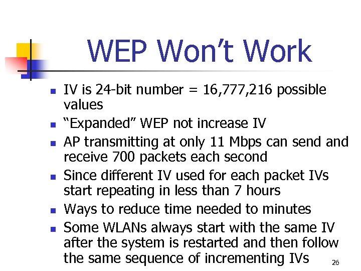 WEP Won't Work n n n IV is 24 -bit number = 16, 777,