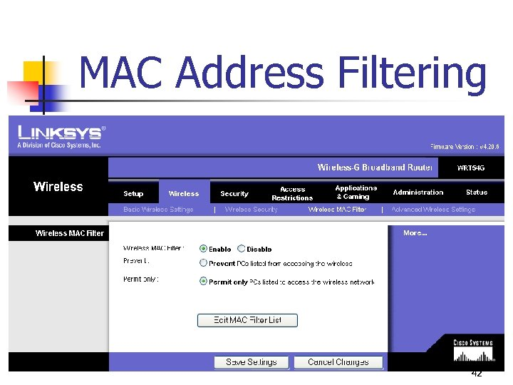 MAC Address Filtering 42