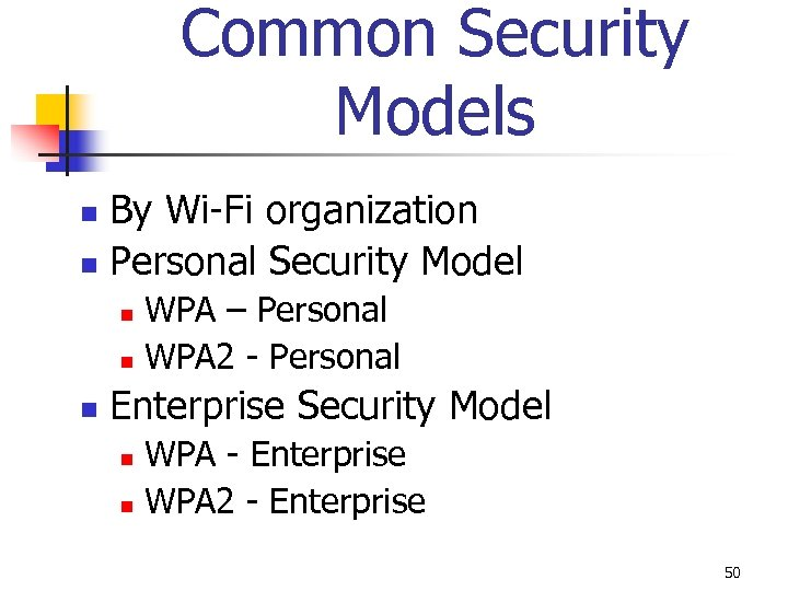 Common Security Models By Wi-Fi organization n Personal Security Model n WPA – Personal