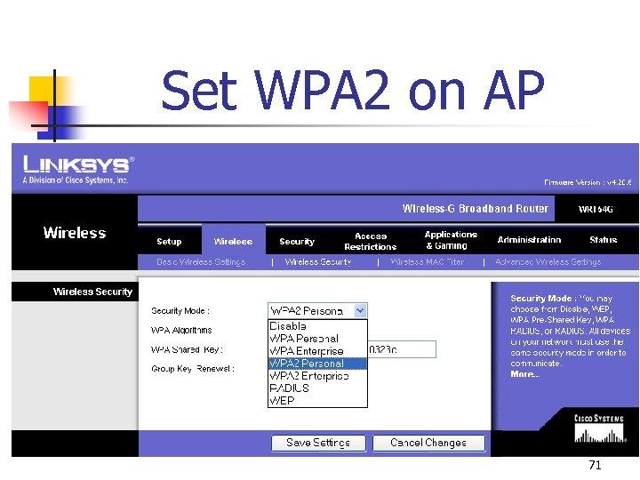 Set WPA 2 on AP 71