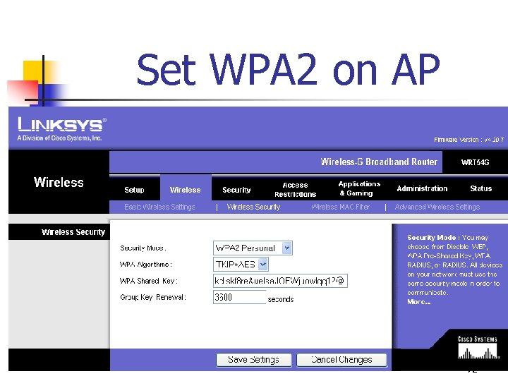 Set WPA 2 on AP 72