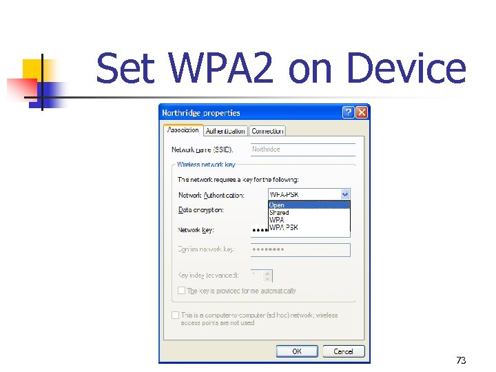 Set WPA 2 on Device 73