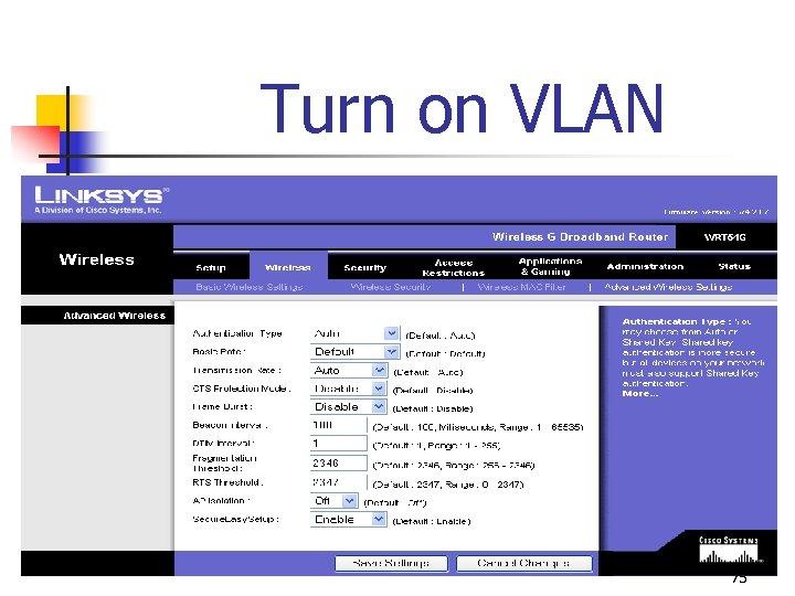 Turn on VLAN 75