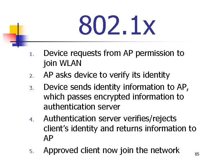 802. 1 x 1. 2. 3. 4. 5. Device requests from AP permission to