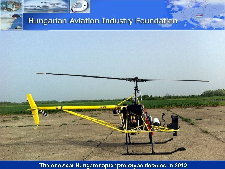 The one seat Hungarocopter prototype debuted in 2012