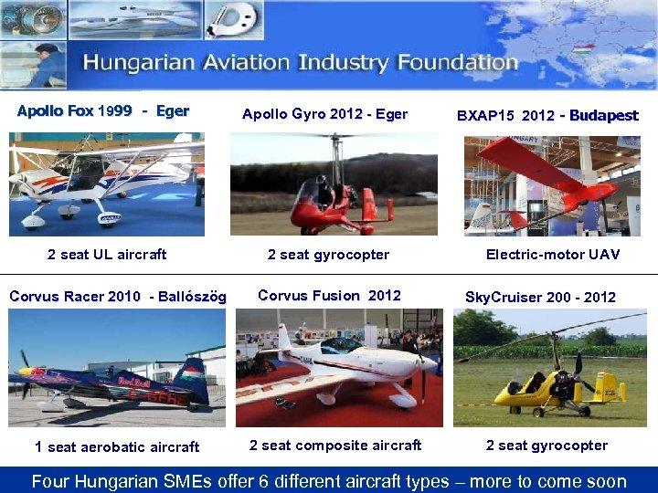 Apollo Fox 1999 - Eger Apollo Gyro 2012 - Eger 2 seat UL aircraft