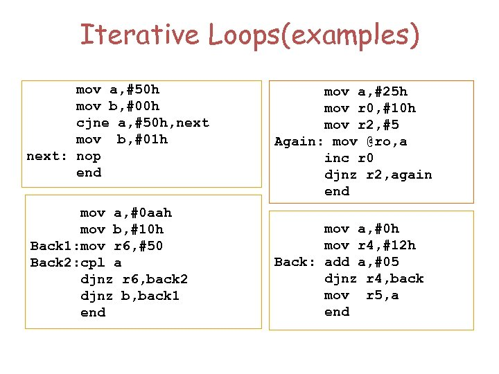 Iterative Loops(examples) mov a, #50 h mov b, #00 h cjne a, #50 h,