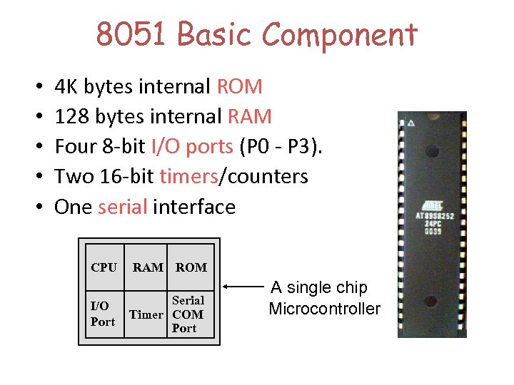 8051 Basic Component • • • 4 K bytes internal ROM 128 bytes internal