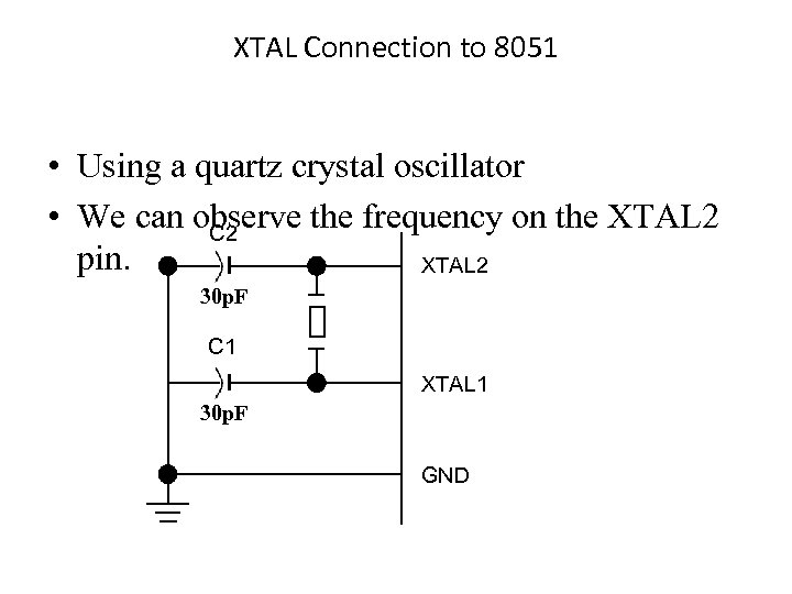 XTAL Connection to 8051 • Using a quartz crystal oscillator • We can observe
