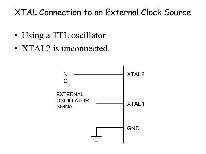 XTAL Connection to an External Clock Source • Using a TTL oscillator • XTAL