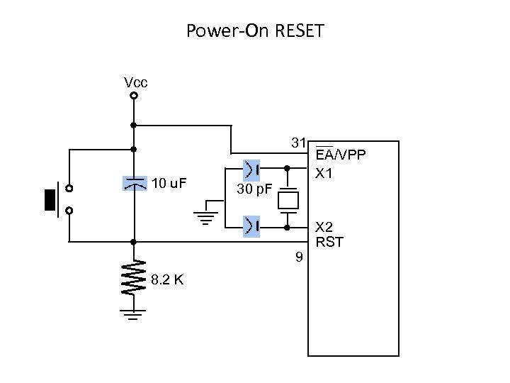 Power-On RESET Vcc 31 10 u. F 30 p. F 9 8. 2 K