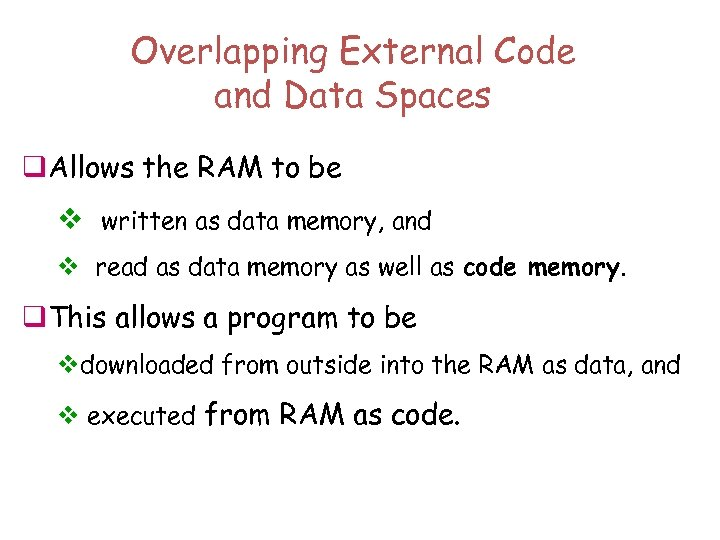 Overlapping External Code and Data Spaces q. Allows the RAM to be v written