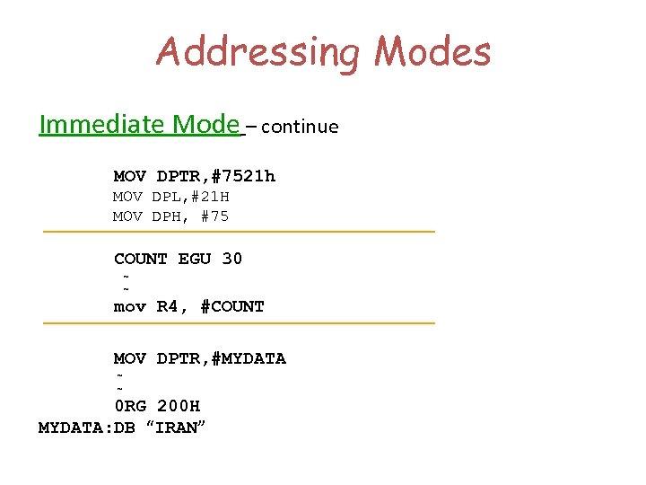 Addressing Modes Immediate Mode – continue MOV DPTR, #7521 h MOV DPL, #21 H