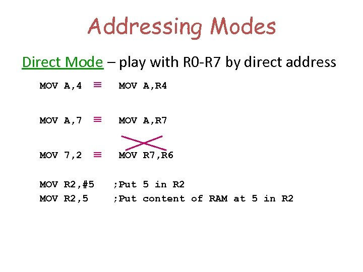 Addressing Modes Direct Mode – play with R 0 -R 7 by direct address