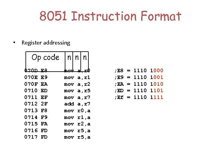8051 Instruction Format • Register addressing Op code 070 D 070 E 070 F