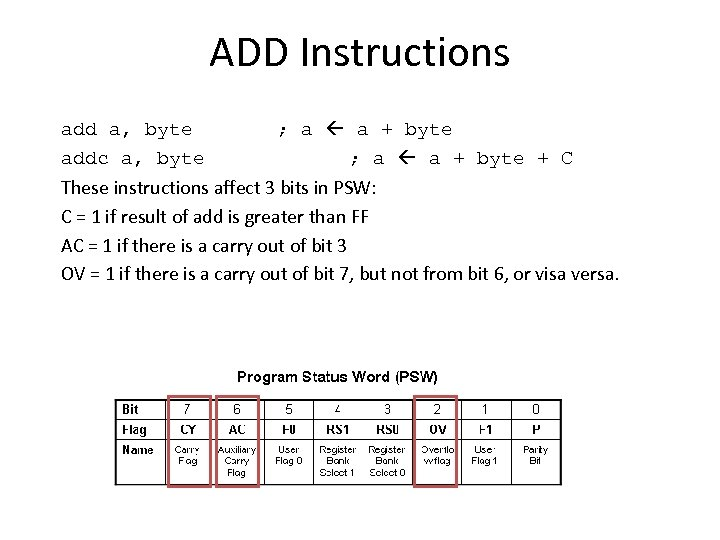 ADD Instructions add a, byte ; a a + byte addc a, byte ;
