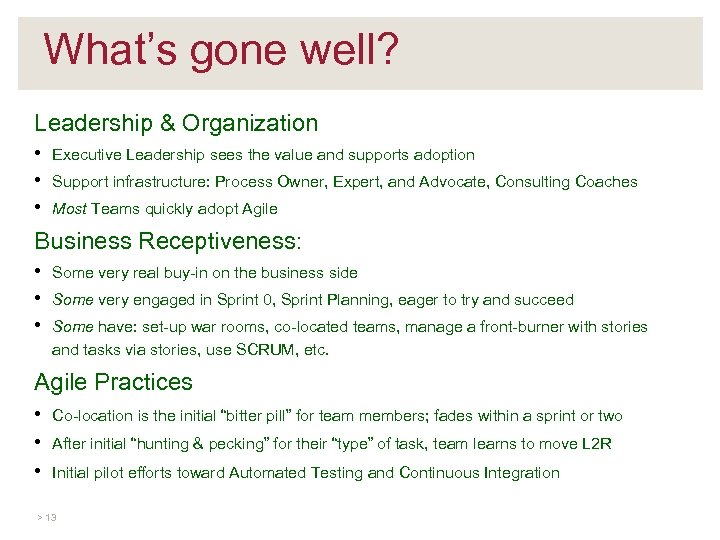 What's gone well? Leadership & Organization • • • Executive Leadership sees the value