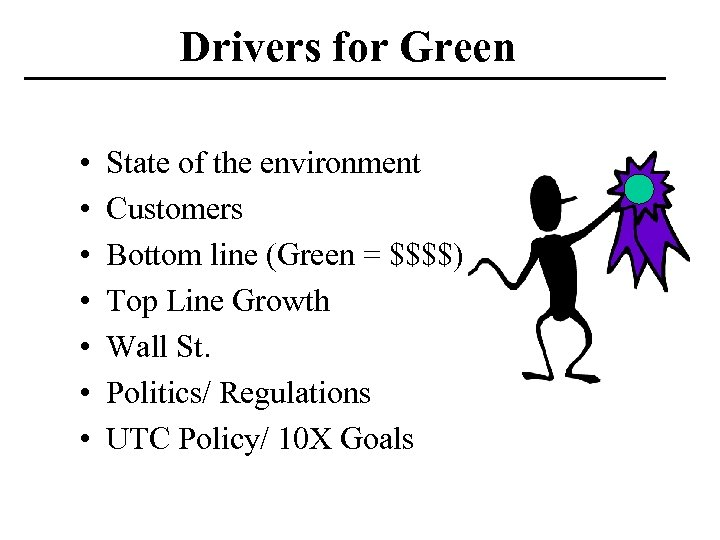 Drivers for Green • • State of the environment Customers Bottom line (Green =