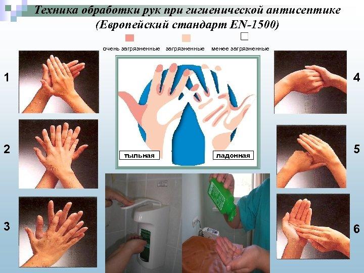 Техника обработки рук при гигиенической антисептике (Европейский стандарт EN-1500) очень загрязненные менее загрязненные 1
