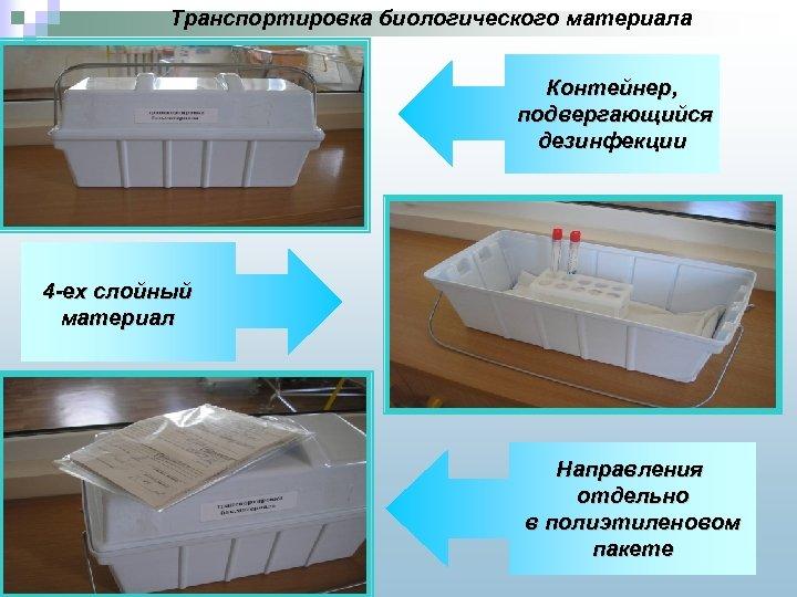 Транспортировка биологического материала Контейнер, подвергающийся дезинфекции 4 -ех слойный материал Направления отдельно в полиэтиленовом