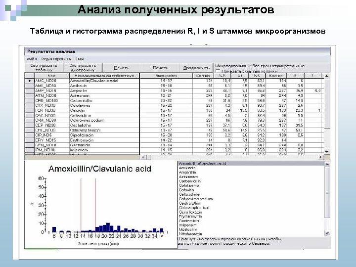 Анализ полученных результатов Таблица и гистограмма распределения R, I и S штаммов микроорганизмов