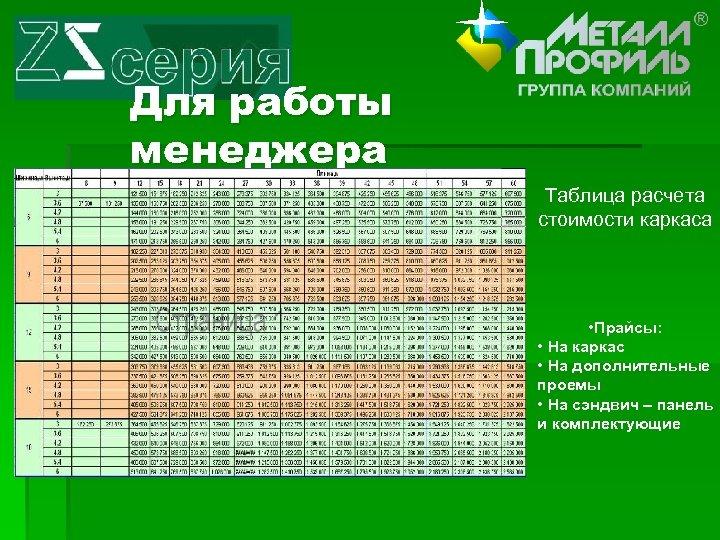 Для работы менеджера Таблица расчета стоимости каркаса • Прайсы: • На каркас • На