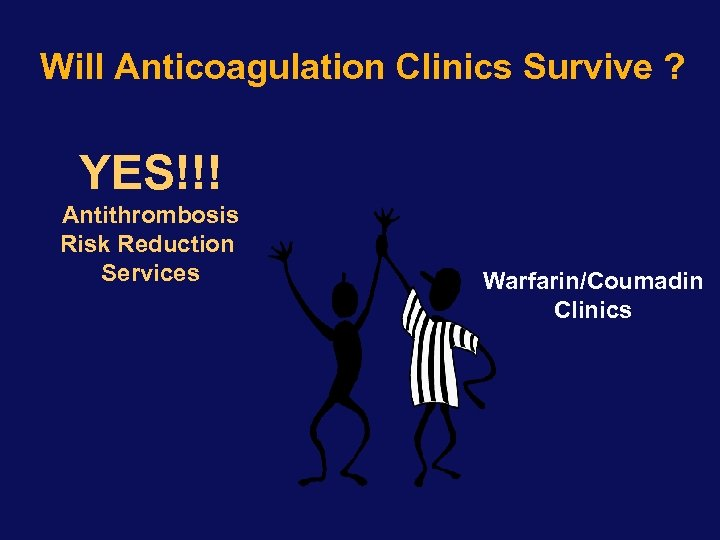 Will Anticoagulation Clinics Survive ? YES!!! Antithrombosis Risk Reduction Services Warfarin/Coumadin Clinics