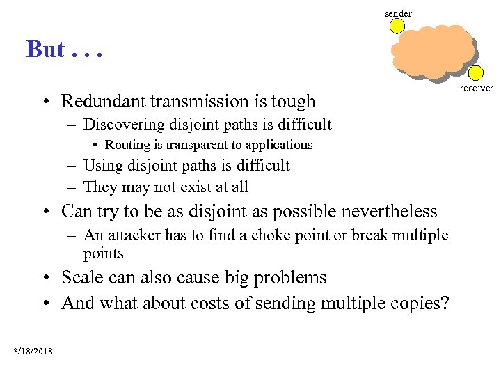 sender But. . . • Redundant transmission is tough – Discovering disjoint paths is