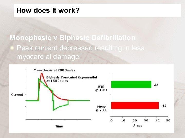How does it work? Monophasic v Biphasic Defibrillation Peak current decreased resulting in less