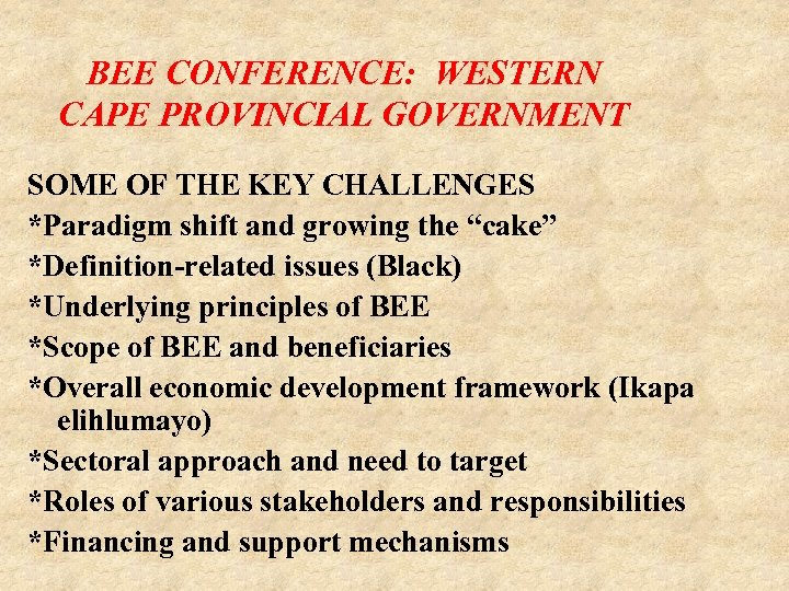 BEE CONFERENCE: WESTERN CAPE PROVINCIAL GOVERNMENT SOME OF THE KEY CHALLENGES *Paradigm shift and