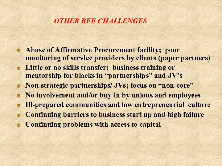 OTHER BEE CHALLENGES Abuse of Affirmative Procurement facility; poor monitoring of service providers by